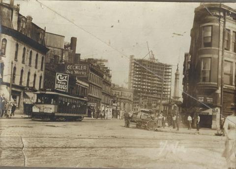 1912 - Looking northwest along Virginia Ave. from Delaware St.