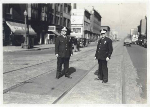 1930 - Officers at Delaware and Ohio Streets, c. 1930